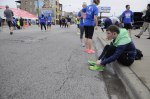 May 11, 2013 - Scott Durrier makes sure his shoes are tied before the Race to Wrigley 5K.